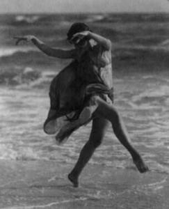 Isadora Duncan on the beach